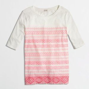 J Crew Printed Embroidered Stripe Top Cream Pink M